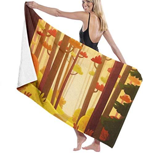 Toalla de playa de microfibra, bosque colorido de dibujos animados Toallas de baño de otoño Toallas de viaje ligeras de secado rápido Toalla de baño de playa ultra absorbente Toalla de piscina Toalla