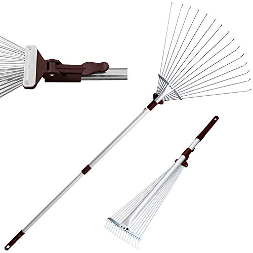 Winslow&Ross Telescopic Metal Rake 63 Inch Adjustable Folding Leaves Rake for Quick Clean Up of Lawn and Yard, Garden Leaf Rake - Perfect for Synthetic Grass Lawn Leaf Carpet Pet Hair Remove