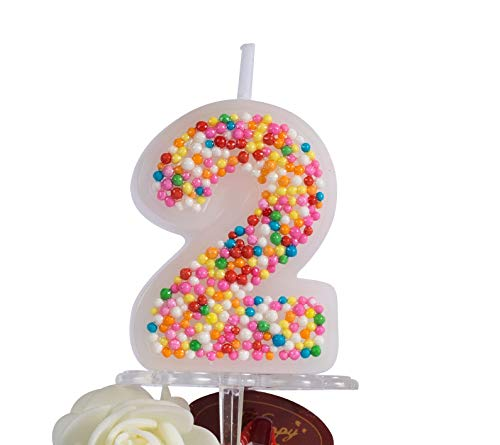 Number Candle (2) Cute Cake Topper Candles – Stylish and Colorful Cake Candles – Eco-Friendly and Non-Toxic – Smooth and Easy Burning Small Candles – for Birthday, Anniversary, Reunions, Etc.