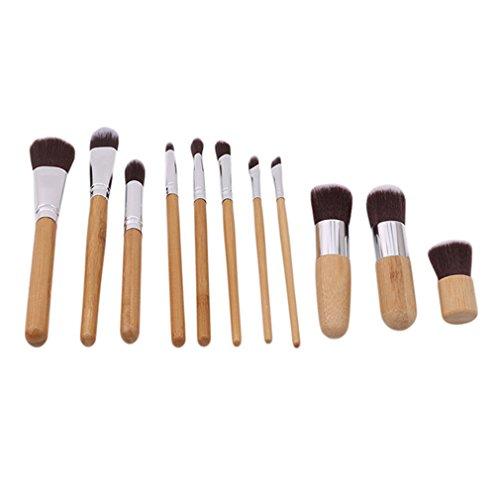 MOONRING 11 Pcs Maquillage Pinceau Ensemble Bambou Poignée Fondation Fard À Paupières Brosses À Sourcils Pour Femmes