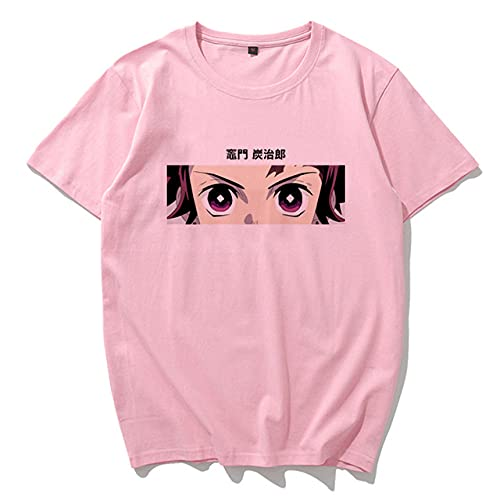Momyeah Manga Corta Camiseta de Anime de Dibujos Animados de Verano, Talla Grande, Manga Corta, Suelta, Ropa de Mujer Harajuku, patrón de Color sólido, Adecuado para Todas Las Ocasiones, Pink3, XXL