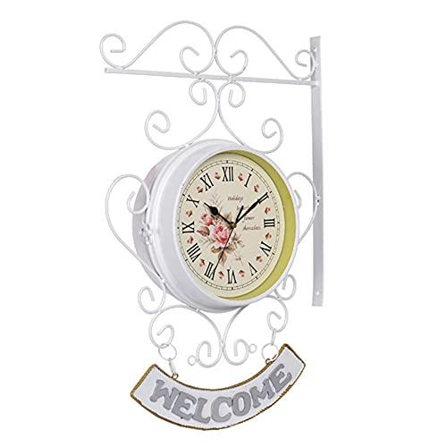 Reloj de Pared Vintage Retro, Reloj de Pared de Doble Cara, Grande Redondo Metal Silencioso No-Ticking Fáciles de Leer Funciona con Pilas Decoración para Salon Jardín Interior y Exterior Blanco