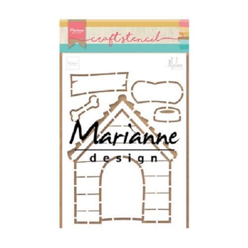 Marianne Design PS8030 Kunst und Handwerk Schablone Hundehütte von Marleen für Scrapbooking, Kartengestaltun und Papierbasteln, 21 x 15 cm