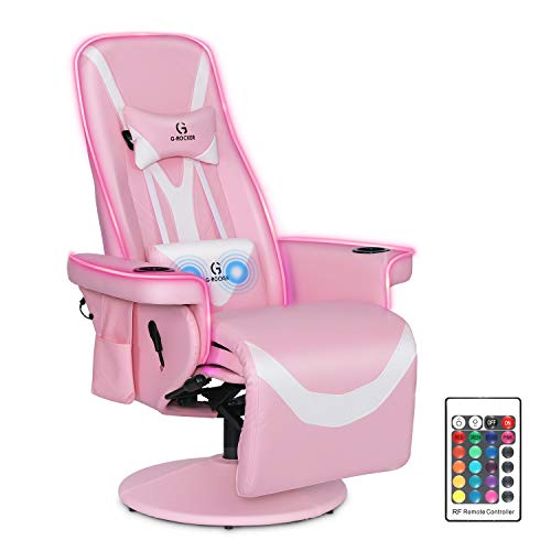 G-ROCKER Queen Throne Video Gaming Chair with RGB LED Lights, High Back...
