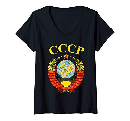 Mujer Escudo de la Unión Soviética Hoz y Martillo CCCP URSS Camiseta Cuello V