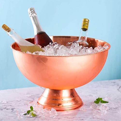 AJMINI Ice Bucket, geïsoleerd roestvrij staal dubbelwandige ijsemmer, rode wijn, champagne, bier ijs emmer13.5L (Rose Gold)