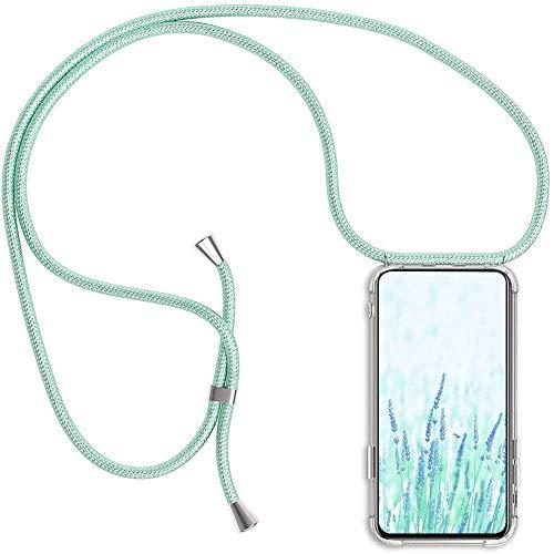 Coqin Handykette Kompatibel mit Sony Xperia L2 Hülle, Smartphone Necklace Schutzhülle, mit Band Stylische Transparent Stoßfest Kratzfest Handyhülle - Schnur mit Case zum Umhängen in Mintgrün