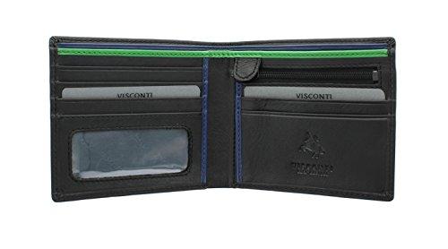 Visconti Colección Bond LE CHIFFRE Cartera de Cuero para Hombre BD707 Negro/Verde