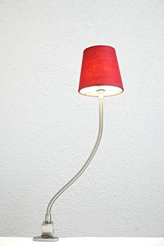 Dapo 12V Halogen-Klemmleuchte Klee mit weinrotem Schirm Regal Leuchte Lampe Klemmlampe