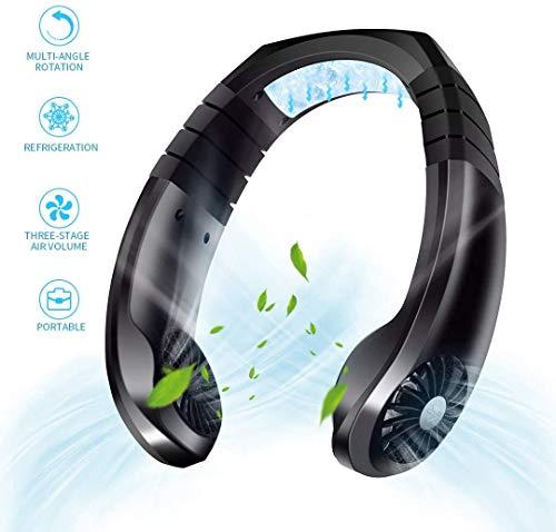 Ventilador USB Portátil, Mini Cuello Ventilador de Mano-Libre, Ventilador de Refrigeración con Doble Cabeza de Viento, 3 Velocidades y Cabeza Ajustable para Oficina, Deportes al Aire Libre,Negro