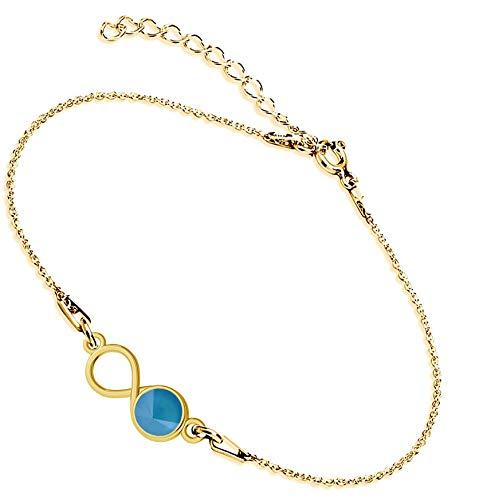 Beforya Paris Infinity - Pulsera ajustable de plata de ley 925 bañada en oro de 24 quilates con elementos originales de Swarovski® Elements, fantástica pulsera para mujer con bolsa de regalo