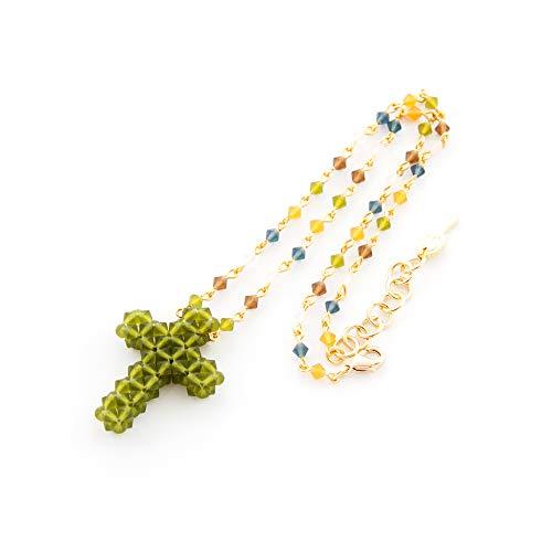 Collana girocollo donna corta. Catena del rosario in vari colori abbinata a un ciondolo a croce. Fatto a mano con tupi Swarovski.Verde