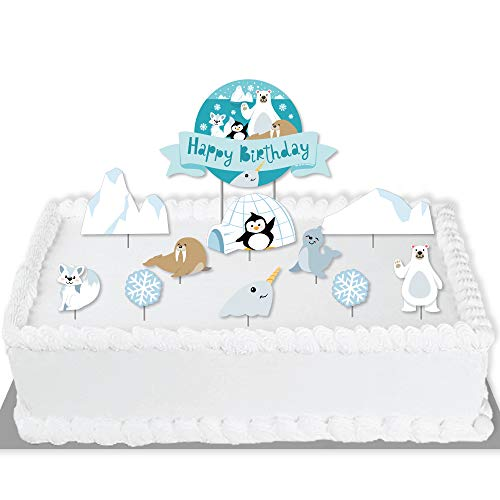 Big Dot of Happiness Arctic Polar Animals - Winter Birthday Party Cake Decorating Kit - Happy Birthday Cake Topper Set - 11 Pieces