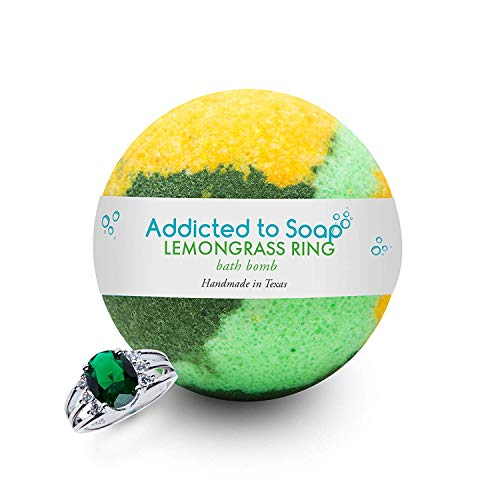 Addicted to Soap  Lemograss Ring Bath Bomb | Ultra Luxurious  Extra Large 6oz Bath Bomb with Sterling Silver Ring Surprise Inside - Organic & Sensual Relaxation (Surprise Size)