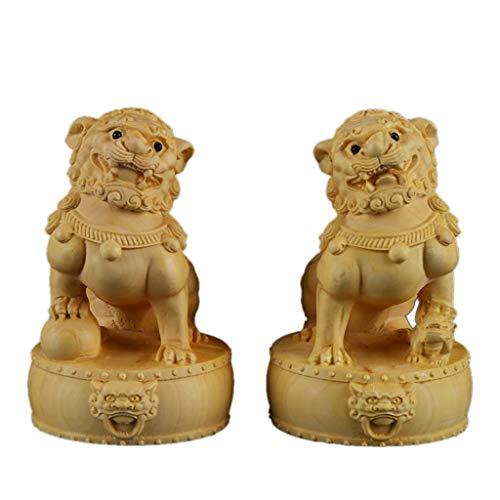 Un Par De Perros Fu Foo Guardian Estatuas De Leones De Madera, Decoración De Feng Shui Estatua Cultural De Los Leones Beijing Mejor Regalo De Felicitación Inauguración para Alejar La Energía Maligna