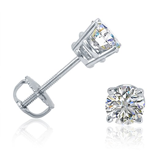 AGS Certified 1/2ct tw Round Diamond Stud Earrings set in 14K White Gold with Screw-Backs