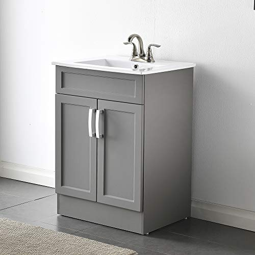 "Comllen Best Modern 24"" Gray Bathroom Vanity Sink Combo Durable Two Door Bathroom Vanity,Bathroom Cabinet Set with Ceramic Vessel Sink"