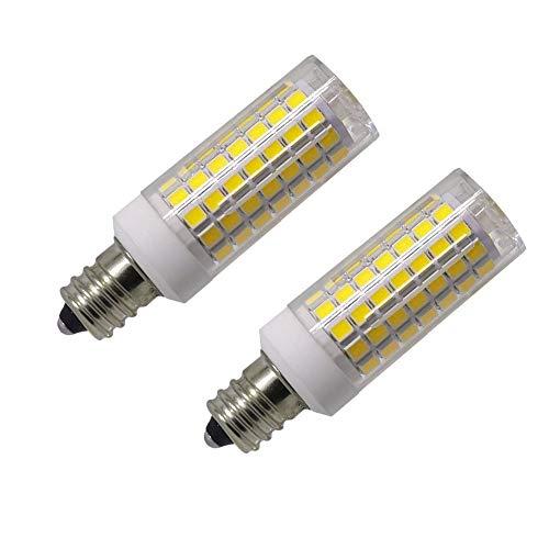 E12 LED Bulb Dimmable 8W C7 Bulb Equivalent to E12 Halogen Bulb 75W, Daylight White 6000K T3/T4 Base E12 Candelabra Bulbs for Ceiling Fan, Chandelier, Kx-2000 Bulbrite Replacement, AC 110-120V(2 Pack)