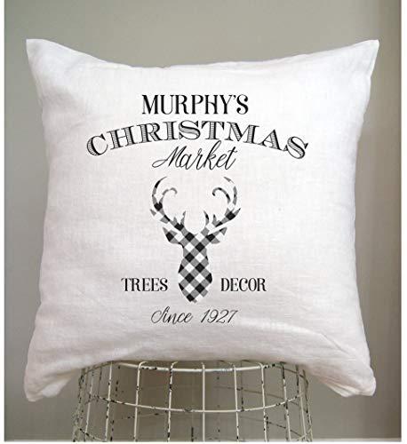 Alicert5II Buffalo Plaid personalisierte Weihnachtskissenbezug Bauernhaus Land Weihnachtsschmuck Fixer Ober