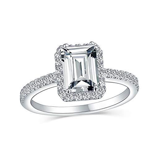 2Ct Smaragd Geschnitten Zirkonia Dünne Pflaster Band Halo Cz Deco Stil 925 Sterling Silber Verlobungsversprechen Ring Für Frauen