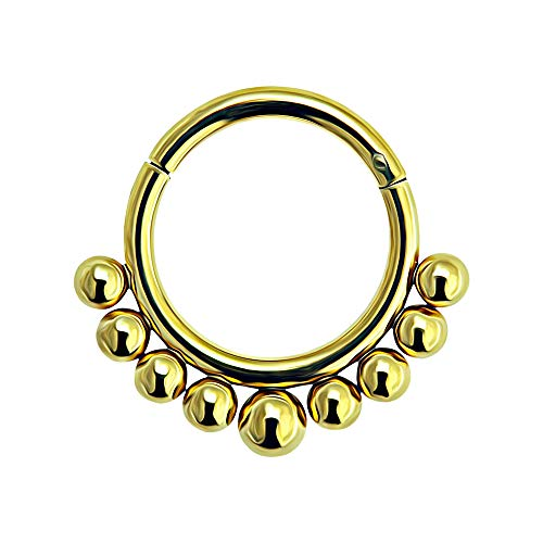 16 Gauge - 8MM Länge Gold eloxierte chirurgische Stammes-gepflasterte Stahlkugeln klappbaren Segment Nase Ring Septum Piercing