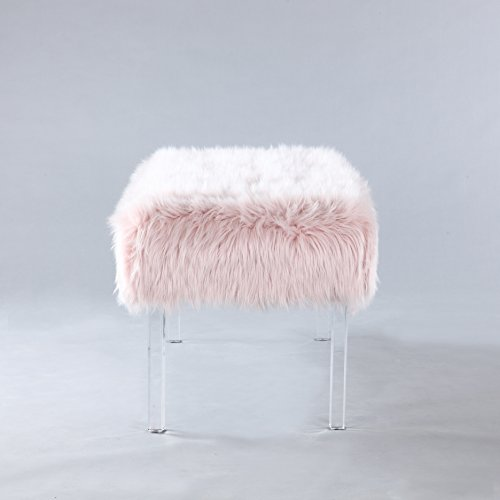Iconic Home Trento Modern Contemporary Faux Fur Acrylic Leg Bench, Pink