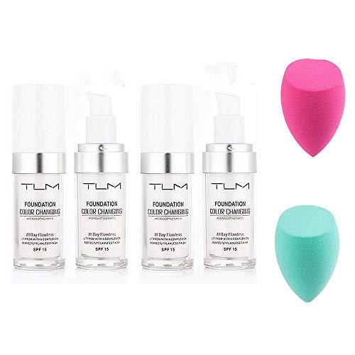 Fond de teint liquide changeant de couleur, fond de teint liquide sans défaut avec mini éponge hydratante et maquillage nude pour tous les types de peau 30 ml (4pcs)