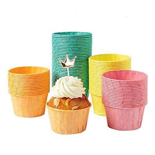katbite Papier Muffinförmchen 160 Stück, Mini Fettdicht Cupcake Formen für Hochzeit, Geburtstag, Party, Einweg Backförmchen in Grün Rot Gelb und Orange