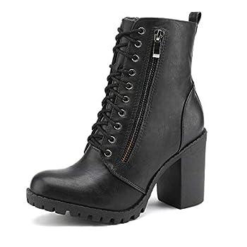 DREAM PAIRS Women's Black Chunky Heel Ankle Booties Size 8.5 B M  US Sliverado
