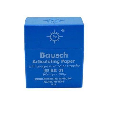 Bausch BK-01 Articulating Paper, Plastic Dispenser, Blue (Pack of 300)