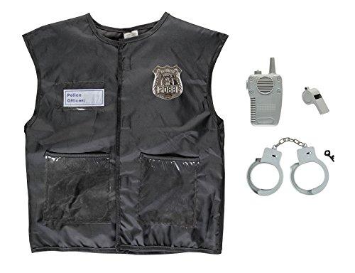Idena 0952-4 30124 - Kinderkostüm-Set Polizei, Weste, Walkie Talkie, Trillerpfeife, Abzeichen, Hanschellen, Police Officer, Beruf, Mottoparty, Karneval