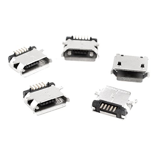 sourcing map Micro-USB-Buchsen, USB Typ B, 180°, 5-polig, für SMD- / SMT-Löten, 5 Stück Montagezubehör de