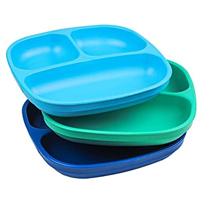 """Re-Play Made in USA 3pk - 7.37"""" Divided Plates with Deep Sides for Baby, Toddler, Child Mealtime - Sky Blue, Aqua & Navy Blue   Eco Friendly Heavyweight Recycled HDPE are Virtually Indestructible!"""