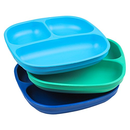 """Re-Play Made in USA 3pk - 7.37"""" Divided Plates with Deep Sides for Baby, Toddler, Child Mealtime - Sky Blue, Aqua & Navy Blue 