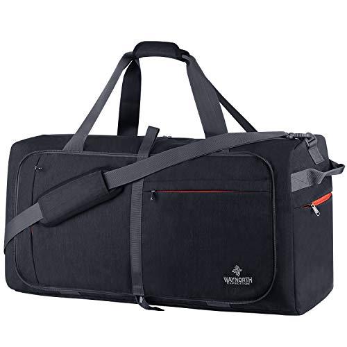 Waynorth 85L Bolsa de Viaje Plegable con Compartimento Bolsa de Deporte Impermeable Ligera Bolsa de Fin de Semana para Hombres Mujeres