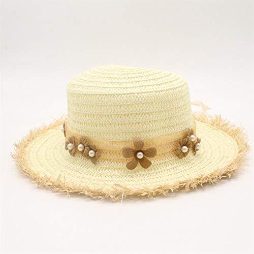 Sombreros De Paja Gorra De Mujer Sombrero De Playa para Mujer, Sombrero De Panamá Informal para Mujer, Sombrero para El Sol De Paja con Lazo Y Flores De Encaje Clásico para Mujer
