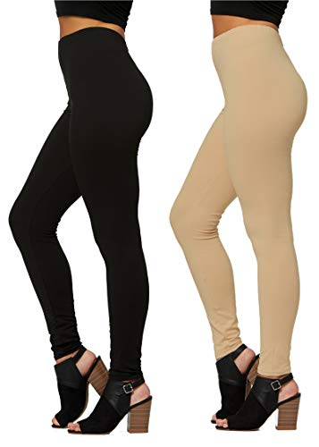 Conceited Ultra Soft High Waisted Leggings in 30 Colors - Regular and Plus Size Leggings for Women Solid 2-Pack Black & Nude - Plus Size