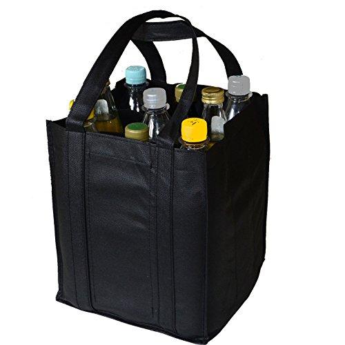 all-around24 Flaschentasche für 9 Flaschen Bottlebag Tasche Einkauf Tragetasche Flaschenkorb Flaschenträger (27x23x21cm, Schwarz)