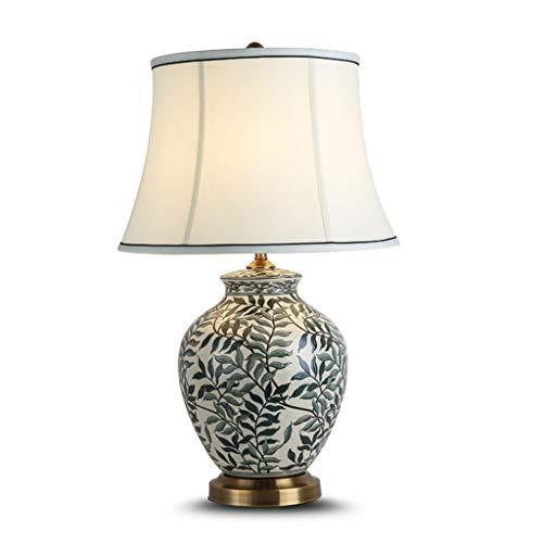 ZWeiD Lámpara de cerámica de mesa, impresión floral suave