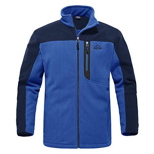 donhobo Herren Full Zip Polar Fleece Jacket Outdoor Wander Trekking Funktionsjacke Freizeitjacke Winter Warm Winddicht Fleecejacke(Blau, L)