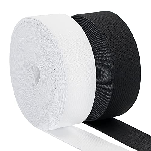 Waycreat Elastic Band for Sewing 1 Inch Soft Comfortable High Elasticity Knit Elastic Strap for Sewing Clothes and PantsWaistbandWig Crafts DIY (Black+White, 5 Yards)