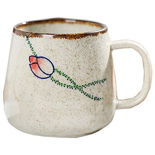 J.AKSO Taza de café vintage estilo retro japonés, taza de cerámica, 380 ml, taza de desayuno, regalo creativo para amigos (01)