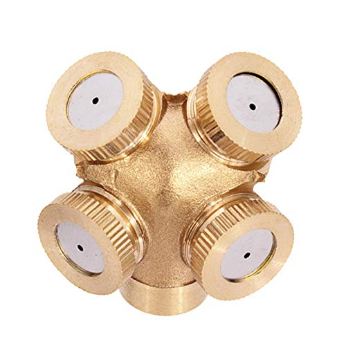Brass Misting Spray Nozzle, 4 Hole Brass Spray Nozzle Garden Sprinklers Irrigation Fitting Garden Sprinkler Irrigation System Connector External Thread Water Pipe