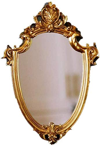 GCX- Maquillaje Espejo Colgado Contenedores Espejo El Antiguo Espejo Antiguo Decoración Decoración del Viento El Oro De La Vendimia Moda (Color : Gold)