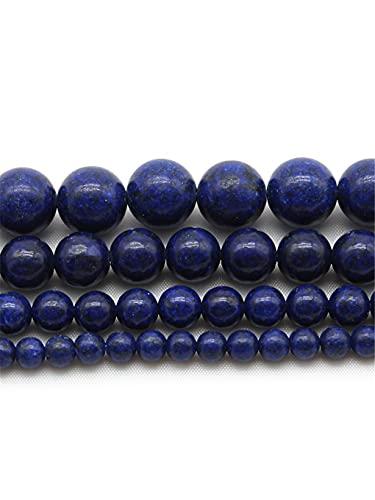 Cuentas redondas de piedra de lapislázuli azul 4/6/8/10/12 mm para hacer joyas DIY pulsera pendientes accesorios 15 pulgadas azul 4mm aproximadamente 93beads