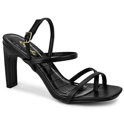 Qupid Kaylee Heels for Women - Black Faux Leather Sling Back Sandals - 8.5
