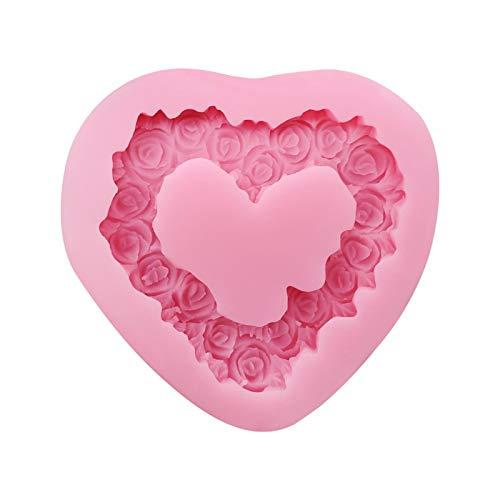 Yiyu Rose Molde del Chocolate Dulce Corazón Haciendo El Molde De Silicona For La Pasta De Azúcar, La Torta/La Decoración, Jabón, Barra De Loción, Arcilla Polimérica, Cemento, Hormigón - Navidad j