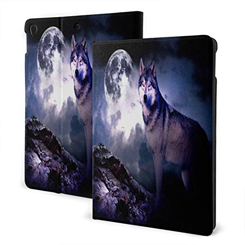 Baliboon Wolf Full Moon Night Ipad Case Anti-Slip Lining Protective Case Multi-Angle Support Shell Stand Cover 360 Rotating Ipad Air Case Protector with Auto Wake/Sleep for Ipad Air3/Pro 10.5 in