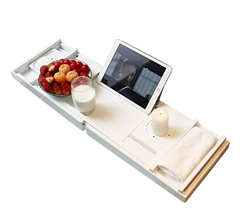 RomanticDesign Bath Caddy Tray for Bathtub - Bamboo Extendable Organizer Tray for Bathroom with Free Soap Dish Suitable for Luxury Spa or Reading(White)