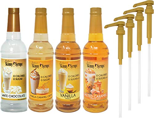 Jordan's Skinny Syrups Sugar Free 4 Flavor Variety 1 of each 750 ml Bottle with By The Cup Coffee Syrup Pumps